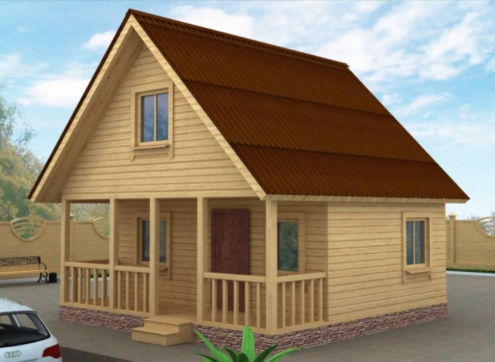 Дачный дом 6х6 с террасой